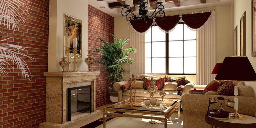 Salon en brique interieur elegant sur la photo